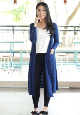 mille long cardi full body blue