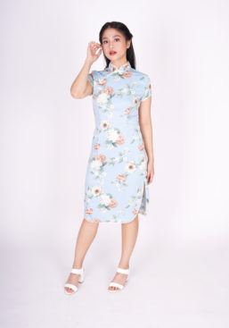 cheongsam soft blue full